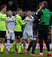 Leeds United's Pablo Hernandez has words with Sheffield United's Dean Henderson after the match<br /> <br /> Photographer Alex Dodd/CameraSport<br /> <br /> The EFL Sky Bet Championship - Leeds United v Sheffield United - Saturday 16th March 2019 - Elland Road - Leeds<br /> <br /> World Copyright © 2019 CameraSport. All rights reserved. 43 Linden Ave. Countesthorpe. Leicester. England. LE8 5PG - Tel: +44 (0) 116 277 4147 - admin@camerasport.com - www.camerasport.com