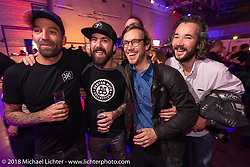 Niels-Peter Jensen, Anthony Partridge, Jonny Cazzola and Christoph Blumberg at an Intermot Customized party at the New Yorker's Dock One venue during the Intermot International Motorcycle Fair. Cologne, Germany. Thursday October 4, 2018. Photography ©2018 Michael Lichter.