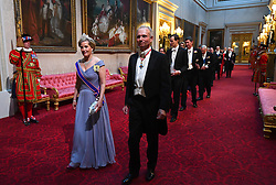 The Countess of Wessex and the Chancellor of the Duchy of Lancaster, David Lidington arrive through the East Gallery during the State Banquet at Buckingham Palace, London, on day one of the US President's three day state visit to the UK.