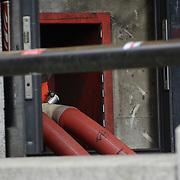 A fire at Westminster Station with emergency fire hose pipe London, UK. 5 October 2021.
