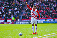Danny Andrew of Doncaster Rovers (3) in action during the EFL Sky Bet League 1 play off first leg match between Doncaster Rovers and Charlton Athletic at the Keepmoat Stadium, Doncaster, England on 12 May 2019.