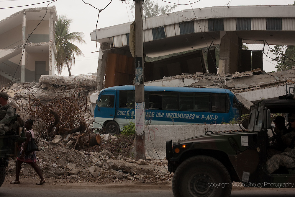 Remains of the state university school of nursing-- L'Ecole Nationale des Infirmières de Port au Prince-- on the grounds of the general hospital, in downtown Port au Prince, Haiti, Friday, February 26, 2010.  An estimated 74 students died in the building.