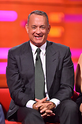 Tom Hanks during filming of the Graham Norton Show at The London Studios, south London, to be aired on BBC One on Friday evening.