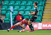 Sale Sharks full back Luke James touches down for a try   during the Gallagher Premiership Rugby match Northampton Saints -V- Sale Sharks won by Sale 34-14, at Franklin's Gardens, Northamptonshire ,England United Kingdom, Tuesday, September 29, 2020. (Steve Flynn/Image of Sport)
