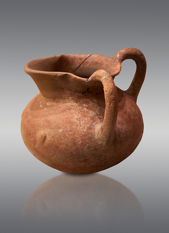 Hittite terra cotta two handled pitcher. Hittite Period, 1600 - 1200 BC.  Hattusa Boğazkale. Çorum Archaeological Museum, Corum, Turkey .<br />  <br /> If you prefer to buy from our ALAMY STOCK LIBRARY page at https://www.alamy.com/portfolio/paul-williams-funkystock/hittite-art-antiquities.html  - Type Hattusa into the LOWER SEARCH WITHIN GALLERY box. Refine search by adding background colour, place,etc<br /> <br /> Visit our HITTITE PHOTO COLLECTIONS for more photos to download or buy as wall art prints https://funkystock.photoshelter.com/gallery-collection/The-Hittites-Art-Artefacts-Antiquities-Historic-Sites-Pictures-Images-of/C0000NUBSMhSc3Oo