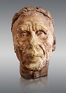 Roman sculpture of the Emperor Gordian 1st, excavated from Carthage ( ruled 3 months in 238AD. The Bardo National Museum, Tunis, Inv No: C. 3212.   Against a grey background. .<br /> <br /> If you prefer to buy from our ALAMY STOCK LIBRARY page at https://www.alamy.com/portfolio/paul-williams-funkystock/greco-roman-sculptures.html . Type -    BARDO    - into LOWER SEARCH WITHIN GALLERY box - Refine search by adding a subject, place, background colour, museum etc.<br /> <br /> Visit our CLASSICAL WORLD HISTORIC SITES PHOTO COLLECTIONS for more photos to download or buy as wall art prints https://funkystock.photoshelter.com/gallery-collection/The-Romans-Art-Artefacts-Antiquities-Historic-Sites-Pictures-Images/C0000r2uLJJo9_s0c