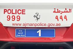 March 1, 2019 - Ajman, United Arab Emirates - Ajman Police vehicle seen near the start line of the sixth Rak Properties Stage of UAE Tour 2019, a 180km with a start from Ajman and finish in Jebel Jais. .On Friday, March 1, 2019, in Ajman, Ajman Emirate, United Arab Emirates. (Credit Image: © Artur Widak/NurPhoto via ZUMA Press)