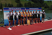 Lucerne, SWITZERLAND,  A Finals, NED M4- Bow Geert CIRKEL, Matthijs VELLENGA, Jan Willem GABIELSs and Gijs VERMEULEN, Gold Medallist, GBR Silver medallist and NZL Bronze Medallist, at the 2007 FISA World Cup, Lucerne, on the Rotsee Lake, 15/07/2007  [Mandatory Credit Peter Spurrier/ Intersport Images] , Rowing Course, Lake Rottsee, Lucerne, SWITZERLAND.