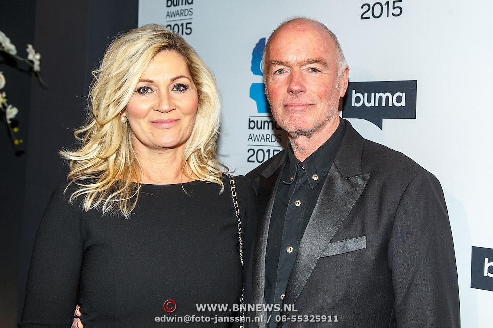 NLD/Hilversum/20150217 - Inloop Buma Awards 2015, Ferdi Bolland en partner Marion Mulder