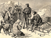 Sir John Franklin (1786-1847) British naval officer and arctic explorer commanded the 1845 expedition of the ships 'Erebus' and 'Terror'  to search for the North West Passage.  Francis Leopold McClintock (1819-1907) receiving proof that John Franklin and his party had perished, and purchasing relics such as silver spoons, medals and button from the Inuits. Engraving from 'Heroes of Britain' by Edwin Hodder (London, c1880).
