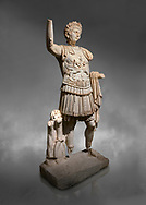 Roman statue of Emperor Trajan. Marble. Perge. 2nd century AD. Inv no . Antalya Archaeology Museum; Turkey.  Against a grey background<br /> <br /> Trajan Roma Emperor  from 98 to 117 AD. .<br /> <br /> If you prefer to buy from our ALAMY STOCK LIBRARY page at https://www.alamy.com/portfolio/paul-williams-funkystock/greco-roman-sculptures.html . Type -    Antalya     - into LOWER SEARCH WITHIN GALLERY box - Refine search by adding a subject, place, background colour, museum etc.<br /> <br /> Visit our ROMAN WORLD PHOTO COLLECTIONS for more photos to download or buy as wall art prints https://funkystock.photoshelter.com/gallery-collection/The-Romans-Art-Artefacts-Antiquities-Historic-Sites-Pictures-Images/C0000r2uLJJo9_s0