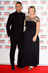 © Licensed to London News Pictures. 18/10/2016. JUSTINS SCOTT and pregnant KIMBERLEY WALSH attend the Variety Showbiz Awards at the Hilton Park Lane Hotel. London, UK. Photo credit: Ray Tang/LNP