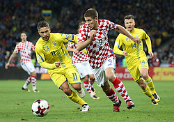 October 9, 2017 - Kiev, Ukraine - Ukraine's Marlos, left, and Croatia's Andrej Kramaric, right, in the fight for the ball during the World Cup Group I qualifying soccer match between Ukraine and Croatia at the Olympic Stadium in Kiev. Ukraine, Monday, October 9, 2017  (Credit Image: © Danil Shamkin/NurPhoto via ZUMA Press)