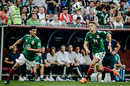 Javier Hernandez and Carlos Vela of Mexico during the 2018 FIFA World Cup Russia, Group F football match between Germany and Mexico on June 17, 2018 at Luzhniki Stadium in Moscow, Russia - Photo Thiago Bernardes / FramePhoto / ProSportsImages / DPPI