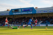 Gillingham FC forward Brandon Hanlan (7) skips pass the goalkeeper to score a goal (1-0) during the EFL Sky Bet League 1 match between Gillingham and Fleetwood Town at the MEMS Priestfield Stadium, Gillingham, England on 3 November 2018.<br /> Photo Martin Cole