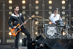 Mike Kerr (left) and Ben Thatcher of Royal Blood performing on The Pyramid Stage at the Glastonbury Festival, at Worthy Farm in Somerset.