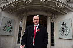 © London News Pictures. 04/11/2015. London, UK. Chip shop owner BARRY BEAVIS arriving at the Supreme Court in London where a judge at the UK's highest court ruled against him in a over parking charges case. Beavis, from Chelmsford, Essex, was challenging private parking operators who charged him £85 for overstaying his two hours of free parking. Photo credit: Ben Cawthra/LNP