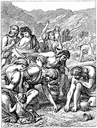 Israelites in the wilderness collecting the manna that fell from heaven.' Bible': Nehemiah 9.15. Wood engraving  1869.