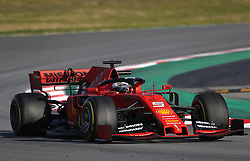 Ferrari's Sebastian Vettel during day one of pre-season testing at the Circuit de Barcelona-Catalunya.