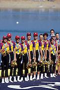 Sydney, AUSTRALIA, ROM W8+ Gold Medalist on the awards dock. Bow, Georgeta DAMIAN - ANDRUNACHE, Viorica SUSANU, Ioana OLTEANU, Veronica COCHELA - COGEANU, Magdalena DUMITRACHE, Elisabeta LIPA - OLENIUC, Liliana GAFENCU,  Doina IGNAT and cox, Elena GEORGESCU - NEDELC.  2000 Olympic Regatta, West Lakes Penrith. NSW.  [Mandatory Credit. Peter Spurrier/Intersport Images] Sydney International Regatta Centre (SIRC) 2000 Olympic Rowing Regatta00085138.tif