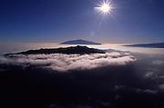 Sunrise over Mauna Kea and Hualalai, Island of Hawaii<br />
