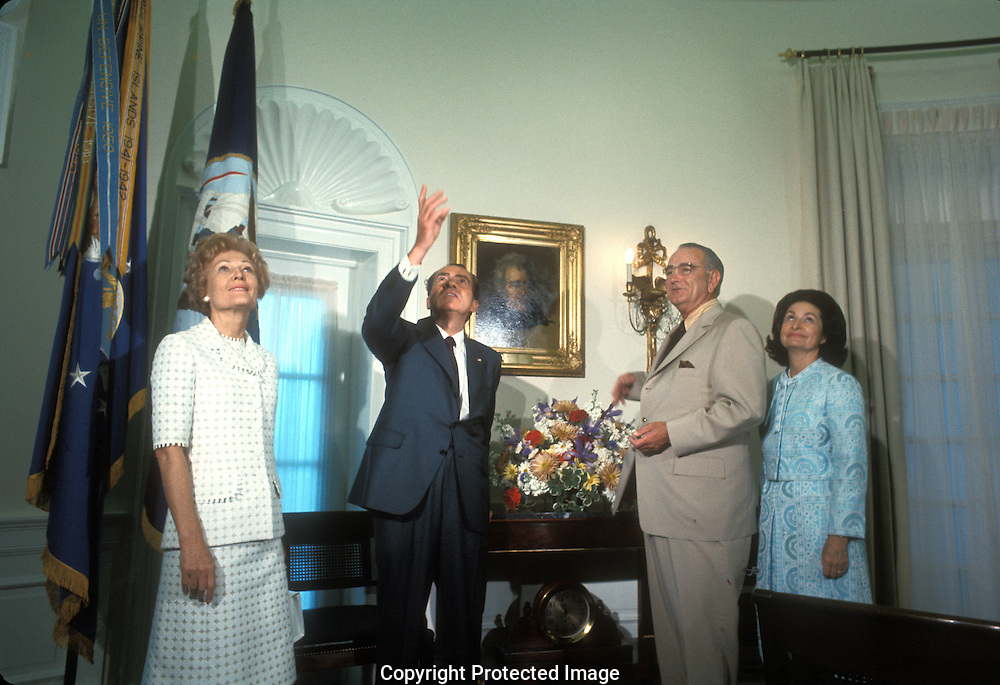 .Presidents Richard Nixon and Lyndon Baines Johnson and  Patr Nixon and Lady Bird Johnson looks att the replica of the Oval Office in the LBJ Library in Austin, Texas on the day of the opening May 24, 1971...Photgraph by Dennis Brack BS B13