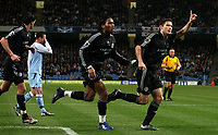 Photo: Paul Thomas.<br /> Manchester City v Chelsea. The Barclays Premiership. 14/03/2007.<br /> <br /> Frank Lampard celebrates his penalty with Didier Drogba (L).