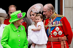 Buckingham Palace has announced Prince Philip, The Duke of Edinburgh, has passed away age 99 - FILE - Duchess of Cambridge with Princess Charlotte, Queen Elizabeth II, Duke of Edinburgh on the balcony of Buckingham Palace, central London after they attended the Trooping the Colour ceremony as the Queen celebrates her official birthday today. The procession will be accompanied by a Sovereign's Escort of the Household Cavalry, made up of Life Guards and Blues and Royals, in their silver and gold breastplates and plumed helmets. The Colour being paraded is the flag of Number 7 Company Coldstream Guards - the unit last performed this special role in 2007. London, UK, on Saturday June 11, 2016. Photo by Robin Utrecht/ABACAPRESS.COM
