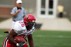 08 OCT 2005 WKU Hilltopper Lerron Moore looks for a path to the promised land. The Illinois State University Redbirds roped and tied the Western Kentucky University Hilltoppers in regulation but loosened the noose in Overtime as the Hilltoppers take the honors with a 37 - 24 Victory in Gateway Conference action at Hancock Stadium on Illinois State's campus in Normal IL.