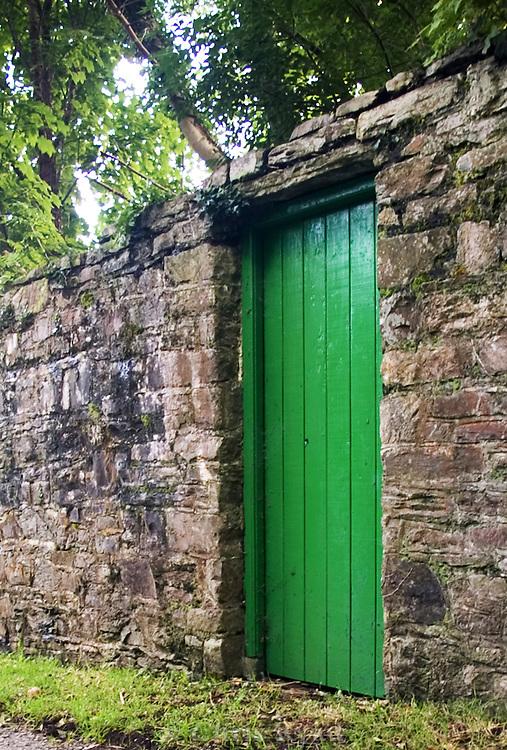 Green garden door, County Kerry, Ireland