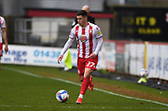 Stevenage forward Jack Aitchison (27)  during the EFL Sky Bet League 2 match between Stevenage and Carlisle United at the Lamex Stadium, Stevenage, England on 20 March 2021.