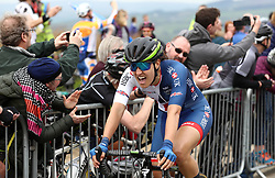 Team GB Cycling's Dani Rowe is exhausted after crossing the line during day two of the ASDA Women's Tour de Yorkshire from Barnsley to Ilkley.