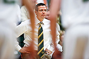 SHOT 1/28/12 3:42:45 PM - Colorado State University head basketball coach Tim Miles during their regular season Mountain West conference game against San Diego State at Moby Arena in Fort Collins, Co. Colorado State upset 12th ranked San Diego State 77-60. (Photo by Marc Piscotty / © 2012)