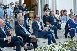 STEFANO BONACCINI DAVIDE CASSANI E ARIEDO BRAIDA  <br /> INAUGURAZIONE CALCIOMERCATO 2021 GRAND HOTEL RIMINI