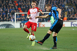February 14, 2019 - Brugge, BELGIUM - Salzburg's Hannes Wolf and Club's Siebe Schrijvers fight for the ball during a soccer game between Belgian team Club Brugge KV and Austrian club FC Red Bull Salzburg, the first leg of the 1/16 finals (round of 32) in the Europa League competition, Thursday 14 February 2019 in Brugge. BELGA PHOTO KURT DESPLENTER (Credit Image: © Kurt Desplenter/Belga via ZUMA Press)