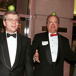Austin, Texas NOV 1999:  Bush advisor Karl Rove (right) with unidentified friend (left) hamming it up at the First Edition Literary Gala at the Texas Book Festival in Austin.  The Book Festival is a project of First Lady Laura Bush.  Working on ID's on other gentleman.  © Bob Daemmrich