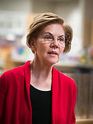 28 DECEMBER 2019 - URBANDALE, IOWA: US Senator ELIZABETH WARREN (D-MA), talks about changes in law that will allow pharmacists to sell some hearing aids over the counter. Warren was at the pharmacy to announce that legislation she wrote will make hearing aids available over the counter. She said it should make hearing aids less expensive and increase competition in the hearing aid industry. The legislation was co-sponsored by Iowa Republican Senator Chuck Grassley and signed into law by President Trump. Warren is campaigning in Iowa this weekend to support her effort to be the Democratic nominee for the US presidential race in 2020. Iowa traditionally hosts the first presidential selection event of the campaign season. The Iowa caucuses are Feb. 3, 2020.        PHOTO BY JACK KURTZ
