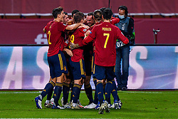 SEVILLE, SPAIN - Tuesday, November 17, 2020: Team of Spain celebrating a goal during the UEFA Nations League match between Spain and Germany at Estadio La Cartuja de Sevilla. (Photo by Pablo Morano/Orange Pictures via Propaganda)