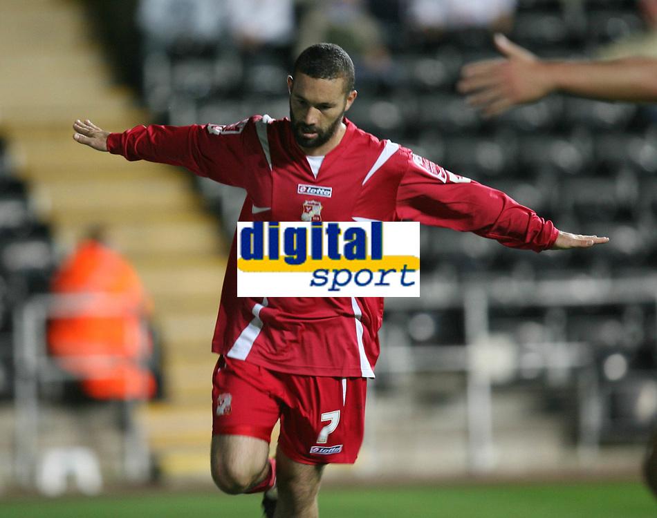 Photo: James Davies.<br />Swansea City v Swindon Town. Coca Cola League 1. 02/10/2007. <br />Swindon`s Christian Roberts celebrates goal.