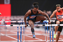 February 7, 2018 - Paris, Ile-de-France, France - From left to right :  Jarret Eaton of USA and  Ludovic Payen of France compete in 60m Hurdles during the Athletics Indoor Meeting of Paris 2018, at AccorHotels Arena (Bercy) in Paris, France on February 7, 2018. (Credit Image: © Michel Stoupak/NurPhoto via ZUMA Press)