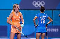 TOKIO -  Xan de Waard (NED)  tijdens de wedstrijd dames , Nederland-India (5-1) tijdens de Olympische Spelen   .   COPYRIGHT KOEN SUYK