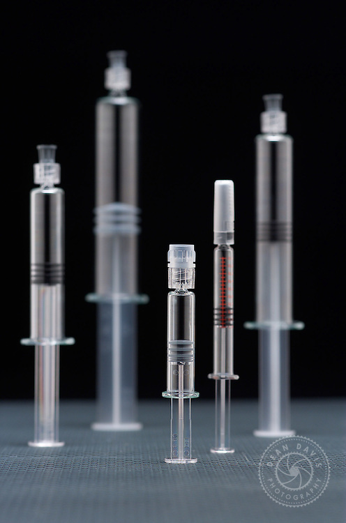 """Image by Dean Davis: I made this image of syringes for Hollister Stier Laboratories. I treated the syringes like architecture and made this little """"cityscape"""". I made the image here in my studio"""