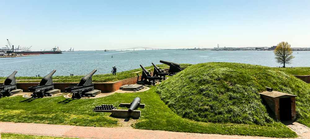 """Fort McHenry, Locust Pointneighborhood ofBaltimore. During theWar of 1812, Fort McHenry soldiers defeated British naval forces. The two-day Battle of Baltimore inspired Francis Scott Key to write the poem """"Defence of Fort M'Henry,"""" which ultimately became """"The Star Spangled Banner"""", ournational anthem."""