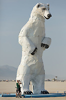 Long View, A Polar Bear Stands in the Desert by: Don Kennell and Arctic Burn 505 from: Santa Fe, NM year: 2018 My Burning Man 2018 Photos:<br />