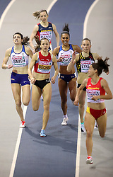 Great Britain's Mari Smith (left) and Adelle Tracey (centre) during the Women's 800m 1st semi final during day two of the European Indoor Athletics Championships at the Emirates Arena, Glasgow.