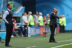 SAINT PETERSBURG, July 14, 2018  Head coach Roberto Martinez (R) of Belgium gives instructions to players during the 2018 FIFA World Cup third place play-off match between England and Belgium in Saint Petersburg, Russia, July 14, 2018. (Credit Image: © Fei Maohua/Xinhua via ZUMA Wire)