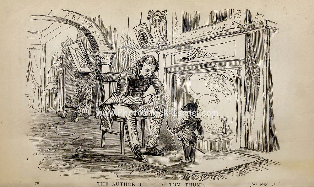 THE AUTHOR TRAINING TOM THUMB, From the autobiographical Book ' Struggles and triumphs; or, Forty years' recollections of P.T. Barnum ' By Barnum, P. T. (Phineas Taylor), 1810-1891 Published by The Courier Company Buffalo, N.Y. in 1879. Phineas Taylor Barnum (July 5, 1810 – April 7, 1891) was an American showman, politician, and businessman, remembered for promoting celebrated hoaxes and for founding the Barnum & Bailey Circus (1871–2017). He was also an author, publisher, and philanthropist,