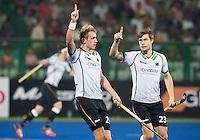 RAIPUR (India) . Niklas Wellen (Dui.)  scored 1-0. right Florian Fuchs (Dui.)  .  Hockey Wold League Final round  men . Germany v India.   WSP Copyright  Koen Suyk