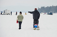 Great Meredith Rotary Ice Fishing Derby on Meredith Bay.   Karen Bobotas for the Laconia Daily Sun