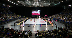 A general view of action between Wasps Netball and Loughborough Lightning during the Vitality Netball Superleague Super Ten match held at Arena Birmingham